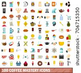 100 coffee mastery icons set in ... | Shutterstock .eps vector #706715350