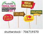 set of printable tropical party ... | Shutterstock .eps vector #706719370