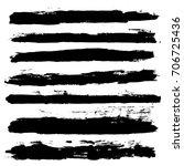 black brush strokes set... | Shutterstock .eps vector #706725436