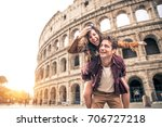 Young Couple At The Colosseum ...