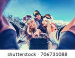 group of friends with ski on... | Shutterstock . vector #706731088
