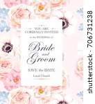 vintage wedding invitation | Shutterstock .eps vector #706731238