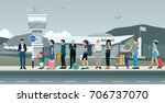 many passengers are waiting for ... | Shutterstock .eps vector #706737070