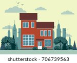 house front view . stock flat... | Shutterstock .eps vector #706739563