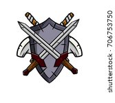 shield crossed axe and sword | Shutterstock .eps vector #706753750
