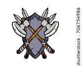 cartoon shield crossed sword axe   Shutterstock .eps vector #706754986