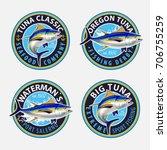 tuna fishing logos. vector... | Shutterstock .eps vector #706755259