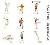 athletic people doing various... | Shutterstock .eps vector #706757938