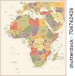 africa map   vintage detailed... | Shutterstock .eps vector #706762426