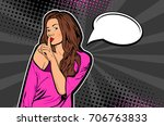 young pretty woman making... | Shutterstock .eps vector #706763833