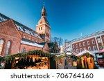 riga  latvia. christmas market... | Shutterstock . vector #706764160