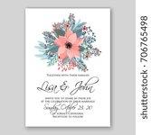 winter poinsettia wedding... | Shutterstock .eps vector #706765498