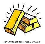 gold bars freehand picture.... | Shutterstock .eps vector #706769116