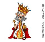 king with huge crown freehand... | Shutterstock .eps vector #706769350