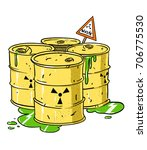 radioactive waste barrels...   Shutterstock .eps vector #706775530