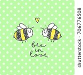 cute bees couple and... | Shutterstock .eps vector #706776508