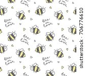 cute hand drawn bees and... | Shutterstock .eps vector #706776610
