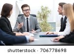 businessman at a meeting with... | Shutterstock . vector #706778698