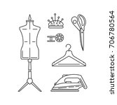 sewing icons outline vector set.... | Shutterstock .eps vector #706780564