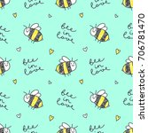 cute hand drawn bees and... | Shutterstock .eps vector #706781470