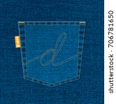 d lettering with blue denim...   Shutterstock .eps vector #706781650