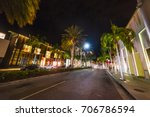 rodeo drive at night. beverly... | Shutterstock . vector #706786594