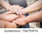 hands together. support ... | Shutterstock . vector #706793974