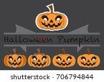 pumpkins emotions design cute...   Shutterstock .eps vector #706794844