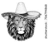 Lion Wild Cat Wearing Sombero...