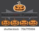 pumpkins emotions design cute... | Shutterstock .eps vector #706795006