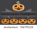 pumpkins emotions design cute... | Shutterstock .eps vector #706795123