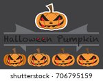 pumpkins emotions design cute... | Shutterstock .eps vector #706795159
