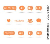 like  follower  comment icons ... | Shutterstock .eps vector #706795864