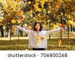 autumn woman fashion model with ... | Shutterstock . vector #706800268