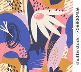 modern exotic jungle plants... | Shutterstock .eps vector #706800406