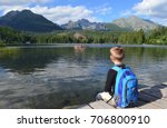 a young boy hiker with a...   Shutterstock . vector #706800910