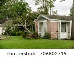 fallen tree on a home in... | Shutterstock . vector #706802719