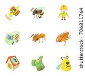 pest extermination icons set.... | Shutterstock .eps vector #706811764
