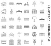 urban icons set. outline style... | Shutterstock .eps vector #706815454
