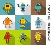 cyborg icon set. flat style set ... | Shutterstock .eps vector #706816879