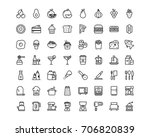 kitchen and food icon set ... | Shutterstock .eps vector #706820839