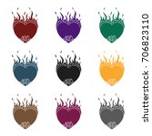 heart in flame icon in black... | Shutterstock .eps vector #706823110