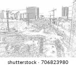 construction activities and... | Shutterstock . vector #706823980
