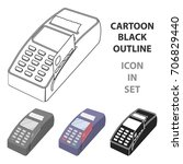 pos terminal icon in cartoon... | Shutterstock .eps vector #706829440