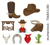 a set of pictures about cowboys....   Shutterstock .eps vector #706831180
