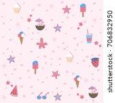 summer seamless pattern.... | Shutterstock .eps vector #706832950