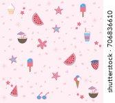 summer seamless pattern.... | Shutterstock .eps vector #706836610