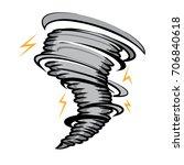 hurricane with lightning strike ... | Shutterstock .eps vector #706840618