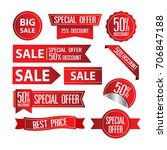 collection of red discount... | Shutterstock .eps vector #706847188