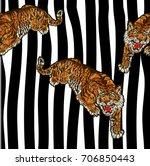 tiger embroidery design. modern ... | Shutterstock .eps vector #706850443